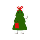 Funny Christmas tree character with bow and gift bag Stock Photography