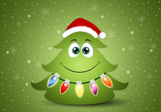 Funny Christmas tree with decorations Royalty Free Stock Image