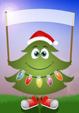 Funny Christmas tree with sign Royalty Free Stock Photos