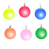 Christmas tree toys vector set. Funny six color christmas tree toys Stock Photography