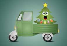 Funny Christmas tree in truck Stock Photos
