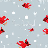 Funny Christmas vector seamless pattern with cardinals Stock Photo