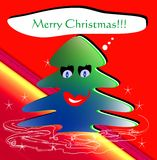 Funny Christmas wishes. An isolated funny Christmas tree with mouth and eyes that makes wishes Royalty Free Stock Photos