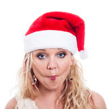 Funny Christmas woman face Royalty Free Stock Photos