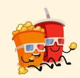 Funny cinema popcorn bucket and soda. Water character. Vector Stock Photo