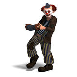 Funny circus clown with lot of emotions. 3D rendering of a funny circus clown with lot of emotions with clipping path and shadow over white vector illustration