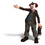 Funny circus clown with lot of emotions. 3D rendering of a funny circus clown with lot of emotions with clipping path and shadow over white Stock Photography