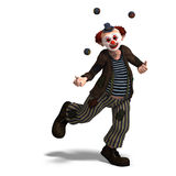 Funny circus clown with lot of emotions. 3D rendering of a funny circus clown with lot of emotions with clipping path and shadow over white Royalty Free Stock Images