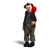Funny circus clown with lot of emotions. 3D rendering of a funny circus clown with lot of emotions with clipping path and shadow over white Royalty Free Stock Photography