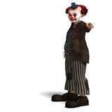 Funny circus clown with lot of emotions. 3D rendering of a funny circus clown with lot of emotions with clipping path and shadow over white Stock Photos