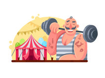 Funny circus weight lifter Royalty Free Stock Image