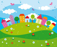 Funny city. Illustration of funny colorful city landscape with houses and trees