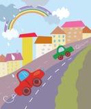 Funny city cartoon with cars Royalty Free Stock Photos