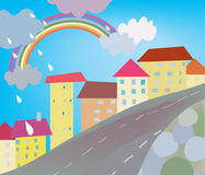 Funny city cartoon for kids Royalty Free Stock Image
