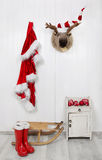 Funny classical santa christmas decoration background in red and Royalty Free Stock Photo