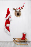 Funny classical santa christmas decoration background in red and royalty free stock photography