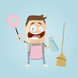 Funny cleaning man Royalty Free Stock Photos