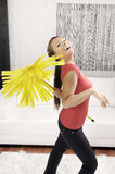 Funny cleaning woman in home Stock Photo