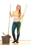 Funny cleaning woman mopping floor Royalty Free Stock Photo