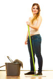 Funny cleaning woman mopping floor Stock Photos