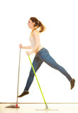 Funny cleaning woman mopping floor jumping Stock Image