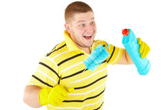 Funny cleanner with equipment. Picture of joyful  professional cleaner. Iisolated over white Stock Image