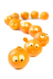 Funny clementines in queue stock photo