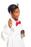 Funny clever boy. Funny clever scientist school boy pointing with pen, isolated on white background stock images