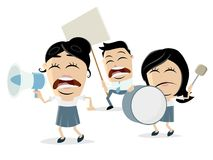 Angry cartoon demonstrators. Funny clipart of angry cartoon demonstrators stock illustration