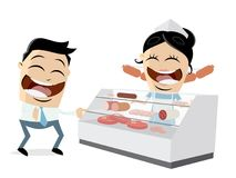 Butcher`s shop clipart. Funny clipart of a butcher`s shop Royalty Free Stock Image