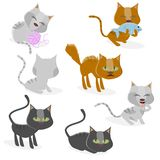Funny cartoon cat collection. Funny clipart collection of cats stock illustration