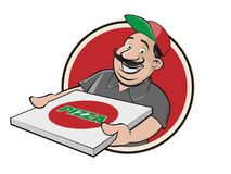 Funny pizza delivery guy. Funny clipart of pizza delivery guy stock illustration