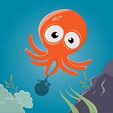 Funny cartoon squid. Funny clipart of a squid stock illustration