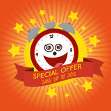Funny clock special offer discount Royalty Free Stock Images