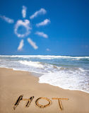 The funny cloud and beach. Sunlight cloud and hot on beach royalty free stock images