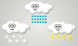 Funny cloud weather rain snow storm sign Royalty Free Stock Images