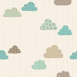 Funny clouds pattern. Vector hand drawn seamlees pattern Royalty Free Stock Image