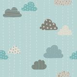 Funny clouds pattern. Vector hand drawn seamlees pattern Stock Image