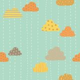 Funny clouds pattern. Vector hand drawn seamlees pattern royalty free illustration