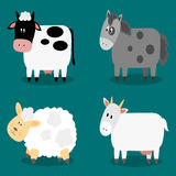 Funny cloven hoof farm animals collection Stock Photography