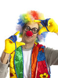 Funny clown. Clown male with funny glasses on white isolated Royalty Free Stock Photography