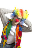 Funny clown. Clown male with funny glasses on white isolated Royalty Free Stock Photos