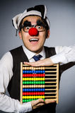 Funny clown with abacus Stock Photography