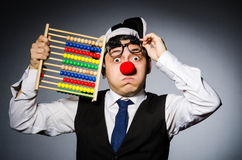 Funny clown with abacus Stock Images
