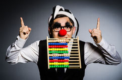 Funny clown with abacus Royalty Free Stock Images