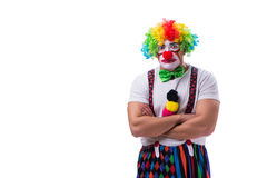 The funny clown acting silly isolated on white background. Funny clown acting silly isolated on white background stock image