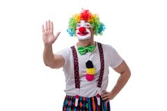 The funny clown acting silly isolated on white background Stock Images