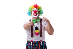 The funny clown acting silly isolated on white background. Funny clown acting silly isolated on white background Stock Images