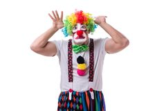 The funny clown acting silly isolated on white background. Funny clown acting silly isolated on white background Royalty Free Stock Photography