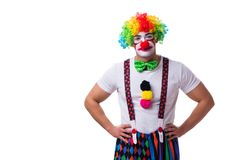 The funny clown acting silly isolated on white background Stock Image